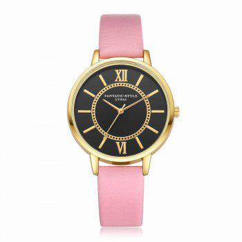 Lvpai P094-G Women Fashion Black Dial Leather Band Wrist Watches - PINK PINK