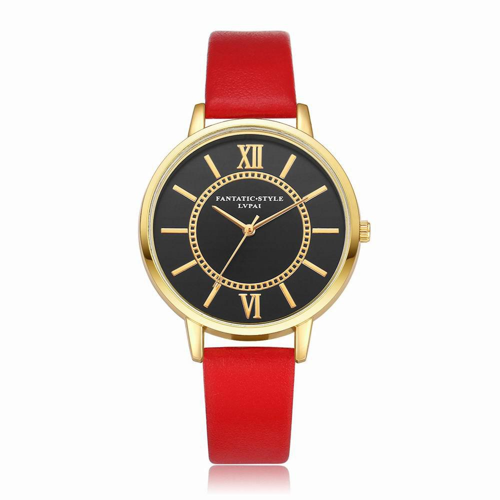 Lvpai P094-G Women Fashion Black Dial Leather Band Wrist Watches - RED