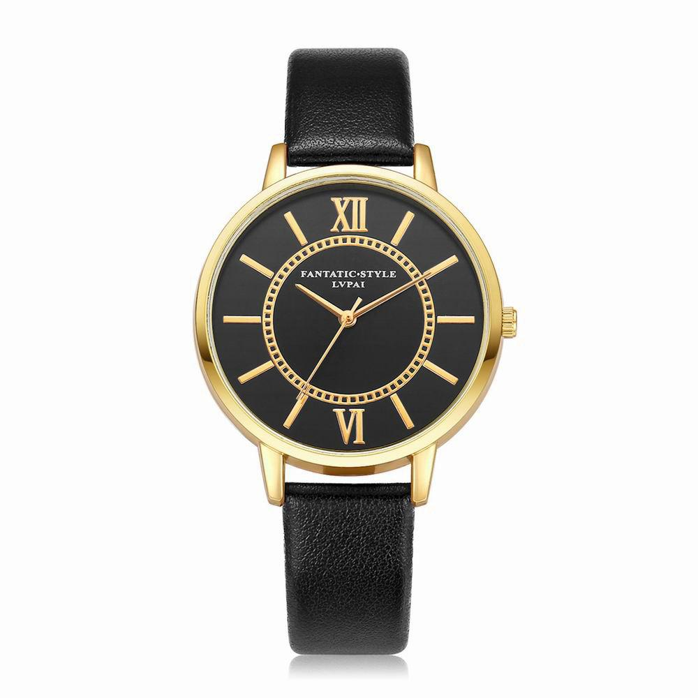 Lvpai P094-G Women Fashion Black Dial Leather Band Wrist Watches - BLACK