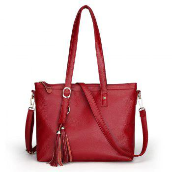 Fashion Soft Leather Lady Casual Shoulder Messenger Bag - RED RED