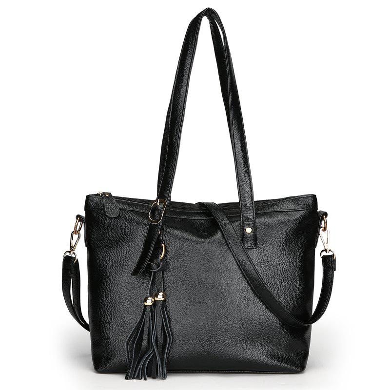 Fashion Soft Leather Lady Casual Shoulder Messenger Bag - BLACK