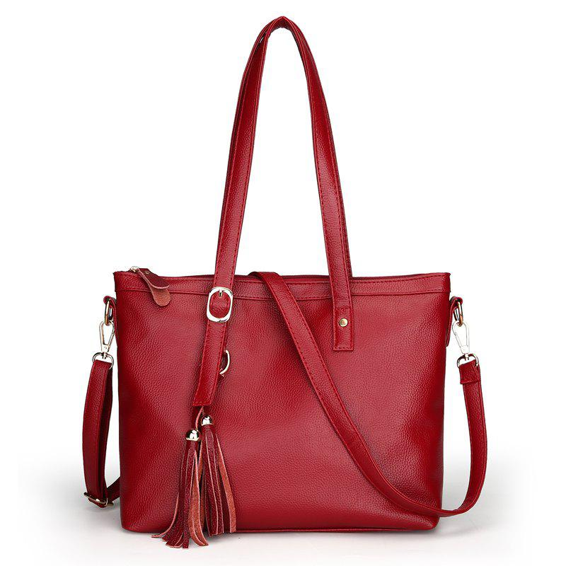Fashion Soft Leather Lady Casual Shoulder Messenger Bag - RED