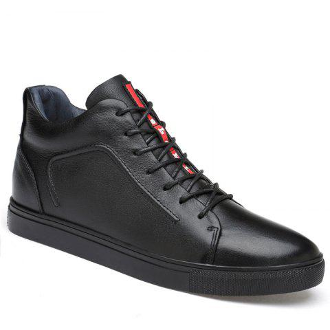 Winter Leather Casual Shoes with Rubber Soles - BLACK 42