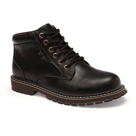 Autumn and Winter Cowhide Rubber Shoes - BLACK 42