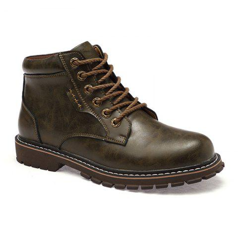 Autumn and Winter Cowhide Rubber Shoes - BROWN 44