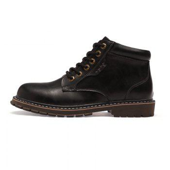 Autumn and Winter Cowhide Rubber Shoes - BLACK 44