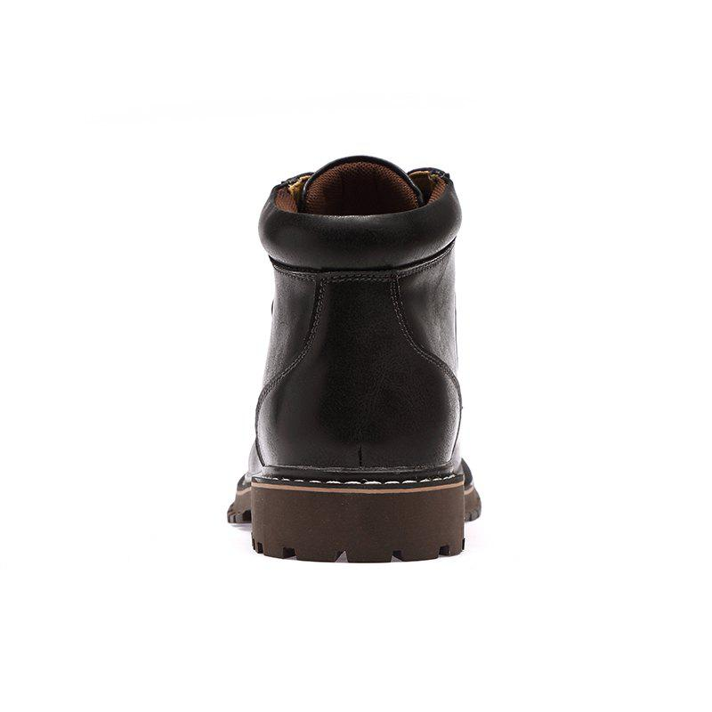 Autumn and Winter Cowhide Rubber Shoes - BLACK 43