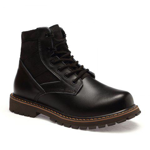 Suede Leather Shoes with Rubber Soles - BLACK 43