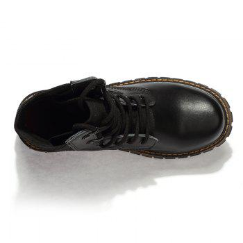 Suede Leather Shoes with Rubber Soles - BLACK BLACK
