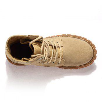 Suede Leather Shoes with Rubber Soles - KHAKI KHAKI