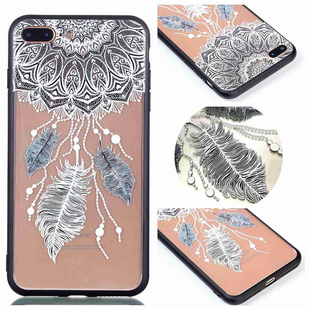 for Iphone 8 Plus Relievo Three Feathers Soft Clear TPU Phone Casing Mobile Smartphone Cover Shell Case - COLOUR