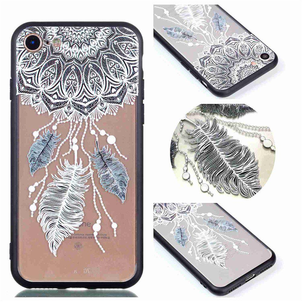 for Iphone 8 Relievo Three Feathers Soft Clear TPU Phone Casing Mobile Smartphone Cover Shell Case - COLOUR