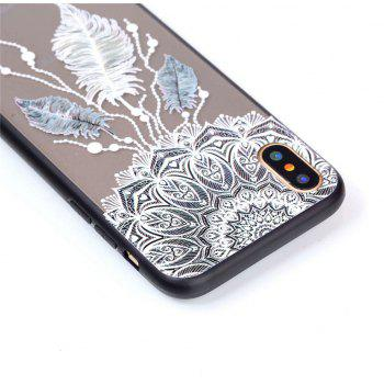 for Iphone X Relievo Three Feathers Soft Clear TPU Phone Casing Mobile Smartphone Cover Shell Case - COLOUR