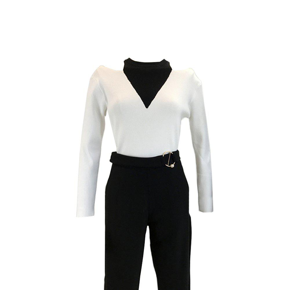 Fake Two Piece Dew Shoulder Cultivate  Render Ice Silk Knitted  Pullovers - WHITE ONE SIZE