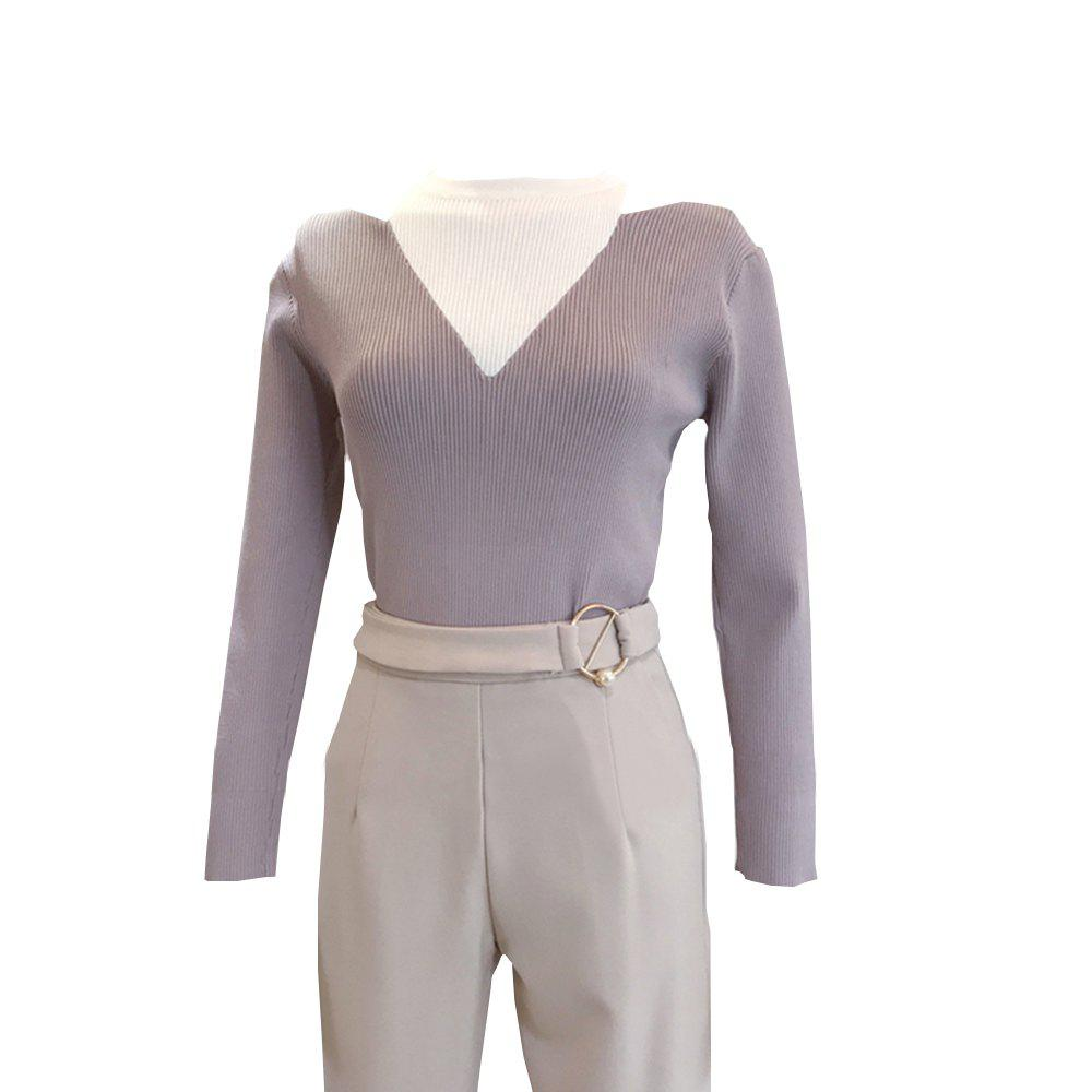 Fake Two Piece Dew Shoulder Cultivate  Render Ice Silk Knitted  Pullovers - RADIANT ONE SIZE