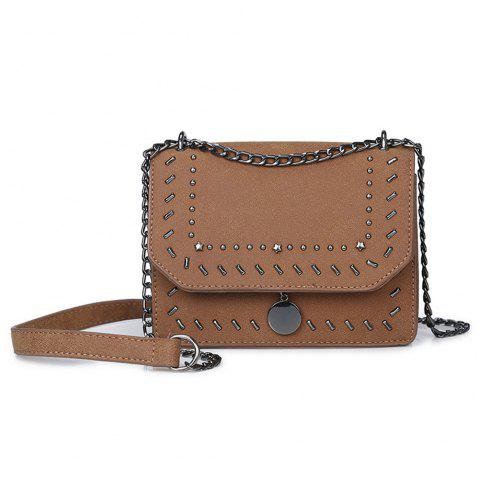 Female Rivet Chain Wild Shoulder Messenger Small Square Package - BROWN