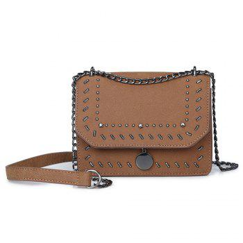 Female Rivet Chain Wild Shoulder Messenger Small Square Package - BROWN BROWN