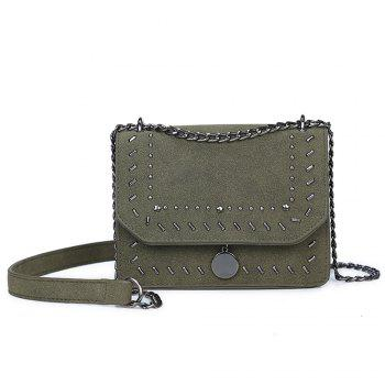 Female Rivet Chain Wild Shoulder Messenger Small Square Package - DARK GREEN DARK GREEN