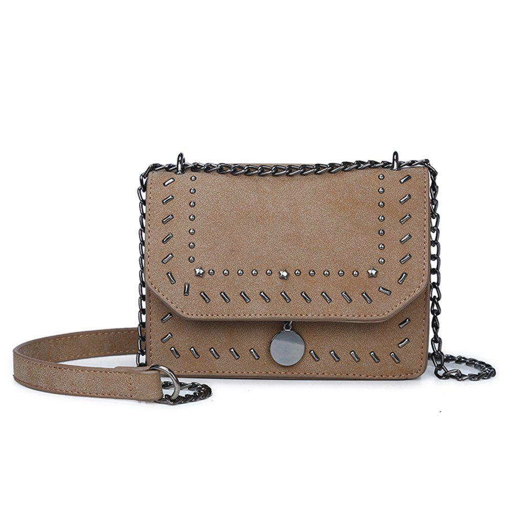 Female Rivet Chain Wild Shoulder Messenger Small Square Package - KHAKI
