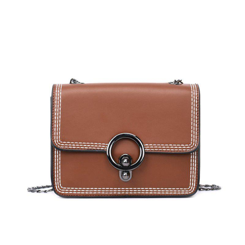 Female Wide Strap Wild Diagonal Shoulder Bag - BROWN