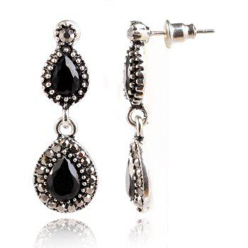 Fashionable and Popular Color Gold Ribbon Drill Red Resin Drop Shaped Ear Nail - SILVER/BLACK