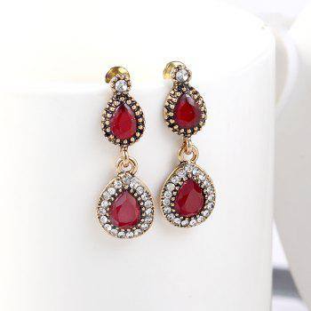 Fashionable and Popular Color Gold Ribbon Drill Red Resin Drop Shaped Ear Nail - GOLD/RED