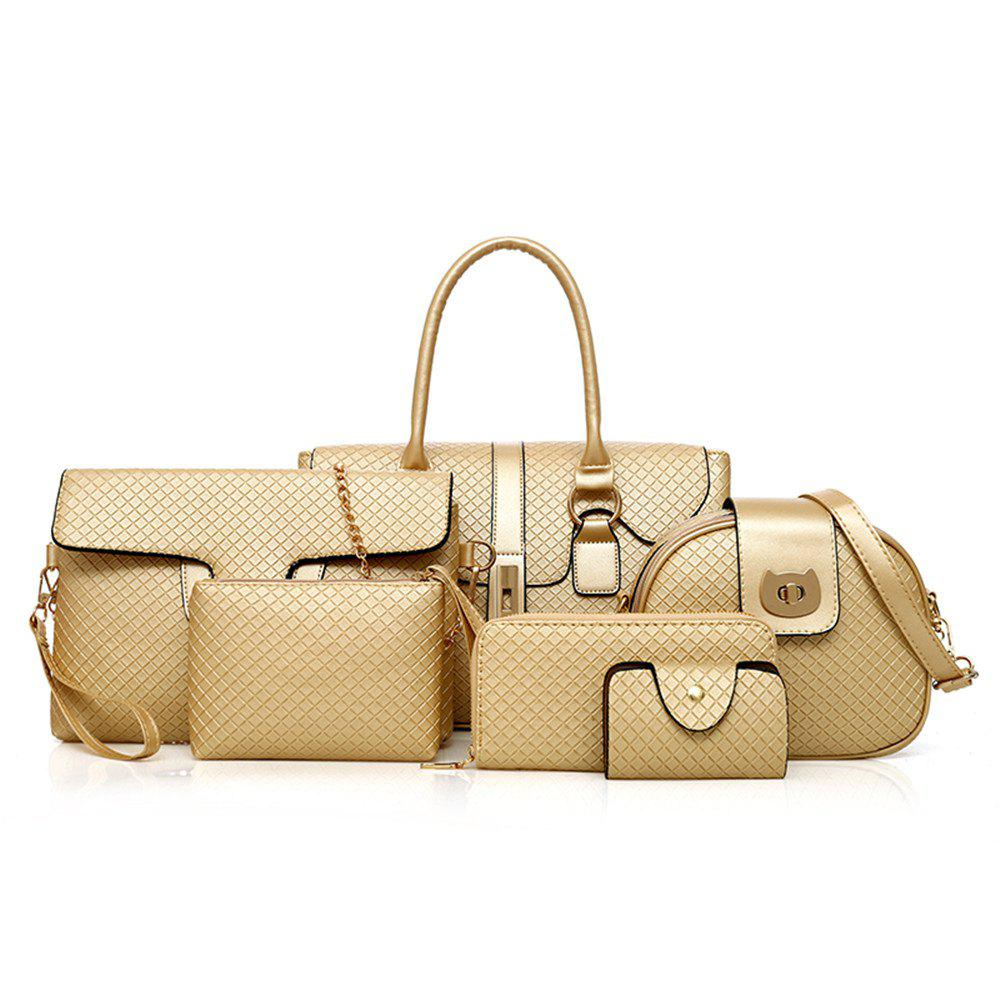 Women's Six Sets of Crocodile Pattern Litchi Snake Shoulder Messenger Bag - GOLDEN