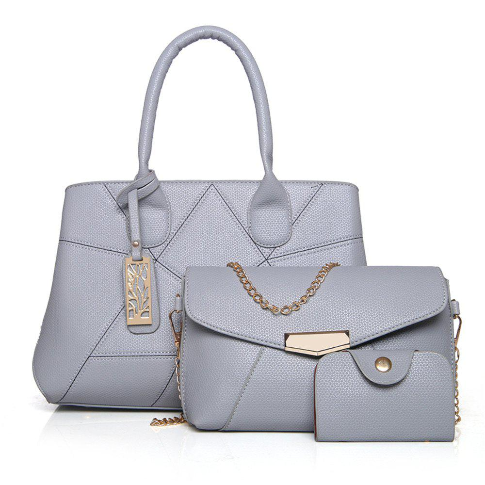 Three Sets of Large Messenger Handbags Ladies Fashion Shoulder Bag - GRAY