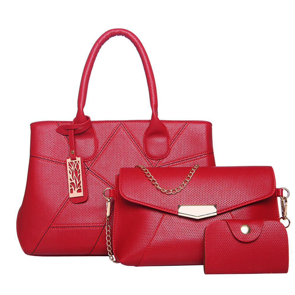 Three Sets of Large Messenger Handbags Ladies Fashion Shoulder Bag - RED