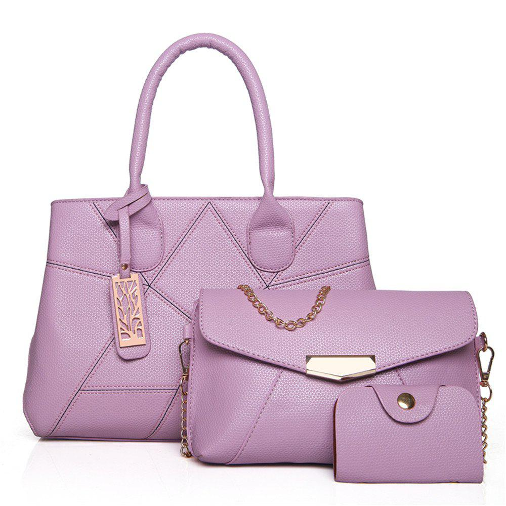 Three Sets of Large Messenger Handbags Ladies Fashion Shoulder Bag - PURPLE
