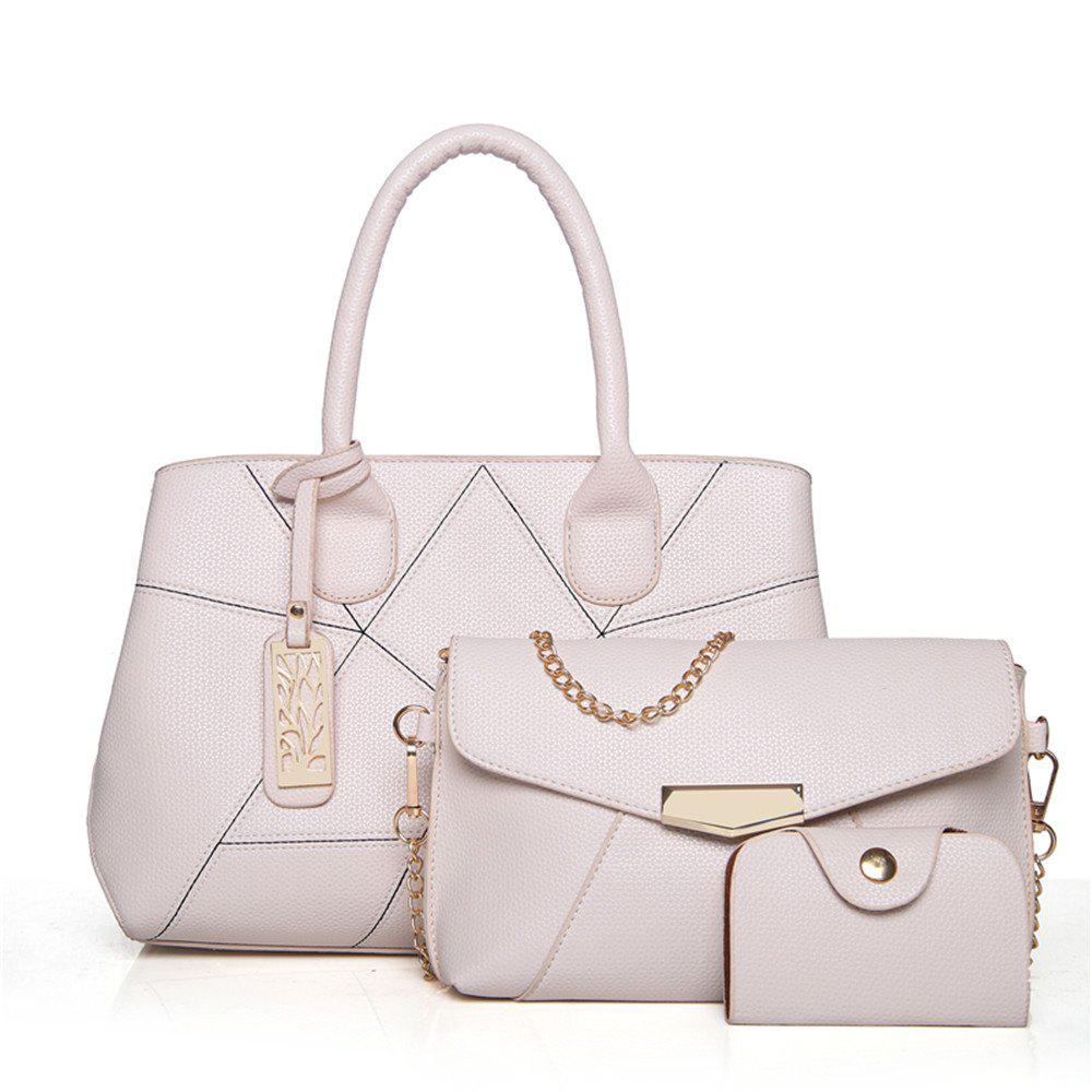 Three Sets of Large Messenger Handbags Ladies Fashion Shoulder Bag - OFF WHITE