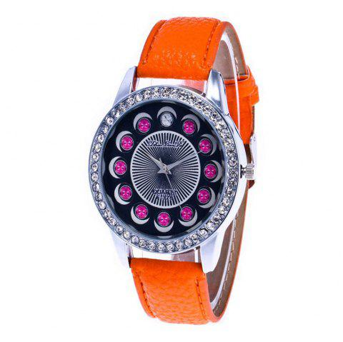 Zhou Lianfa Brand Diamond-encrusted Leather Watch - ORANGE