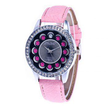 Zhou Lianfa Brand Diamond-encrusted Leather Watch - PINK PINK