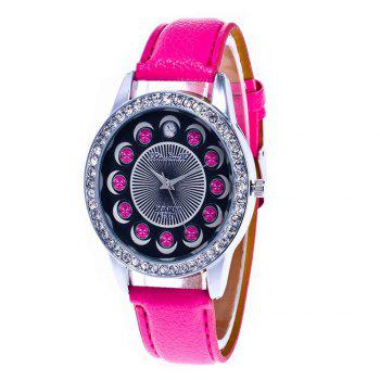 Zhou Lianfa Brand Diamond-encrusted Leather Watch - ROSE RED ROSE RED