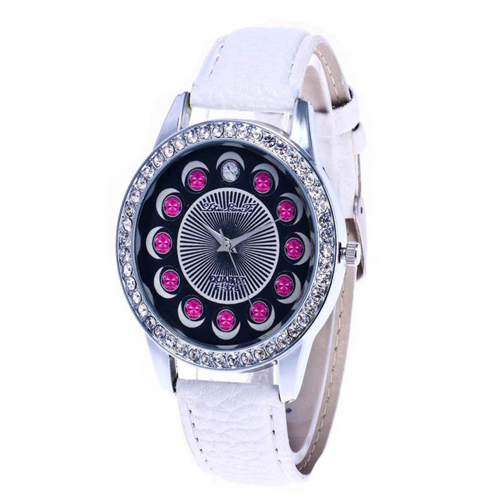 Zhou Lianfa Brand Diamond-encrusted Leather Watch - WHITE