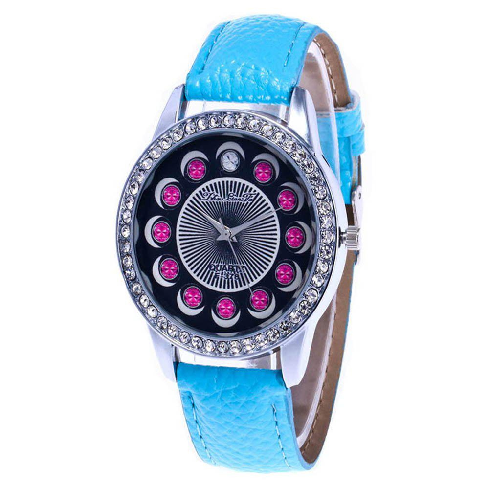 Zhou Lianfa Brand Diamond-encrusted Leather Watch - LIGHT BLUE