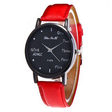 Zhou Lianfa Simple Casual Black Watch - RED