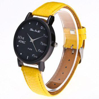 Zhou Lianfa Simple Casual Black Watch -  YELLOW