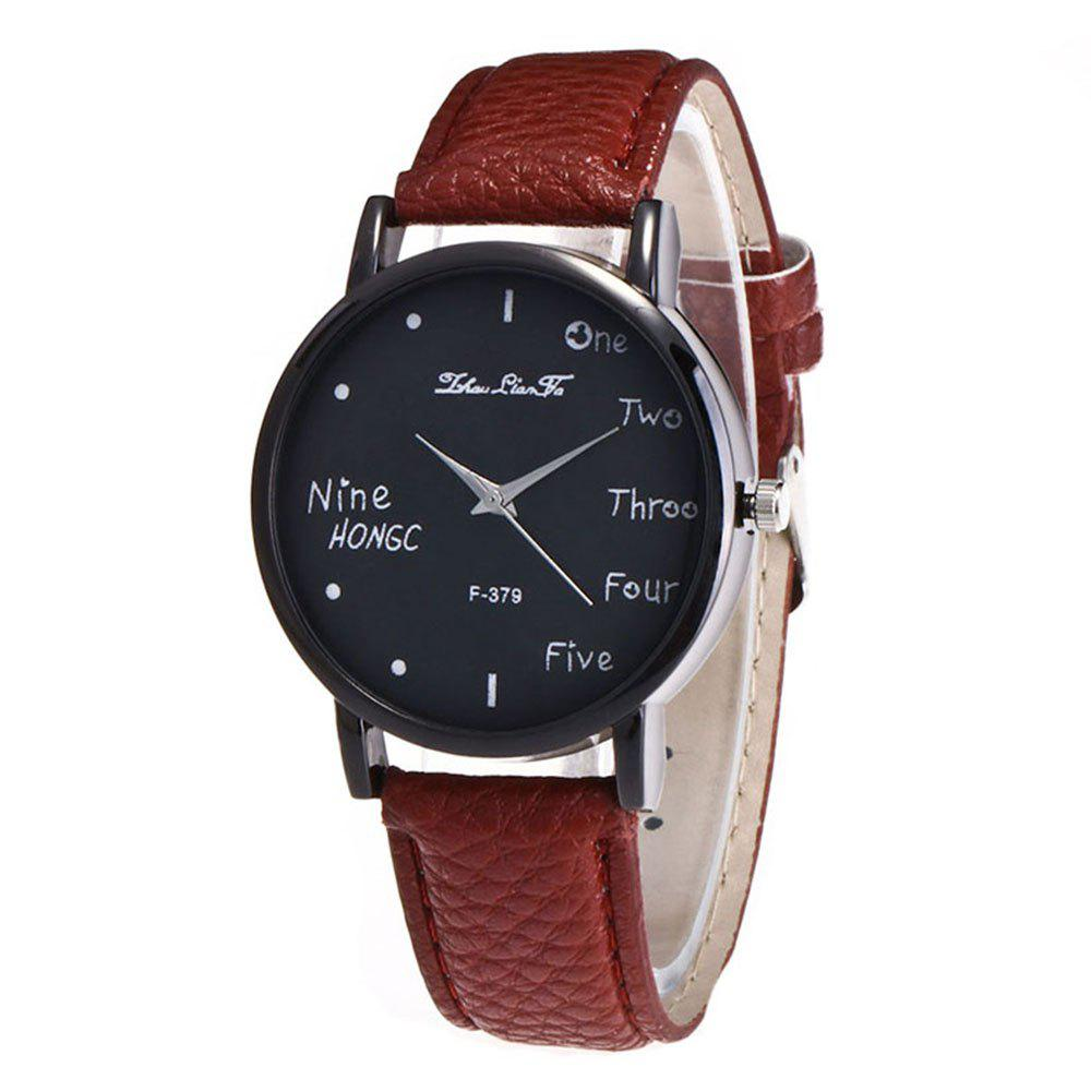 Zhou Lianfa Simple Casual Black Watch - COFFEE BROWN