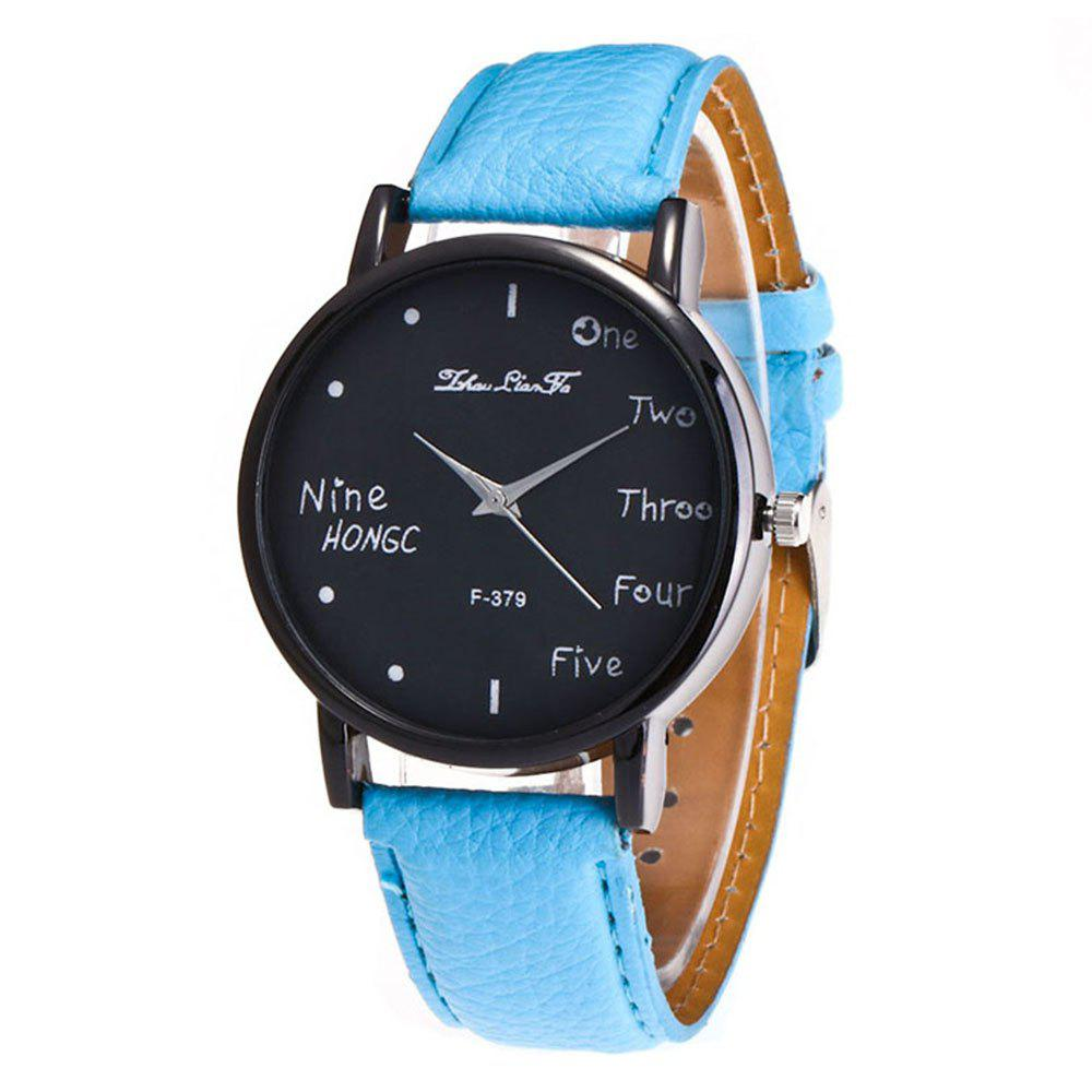 Zhou Lianfa Simple Casual Black Watch - LIGHT BLUE