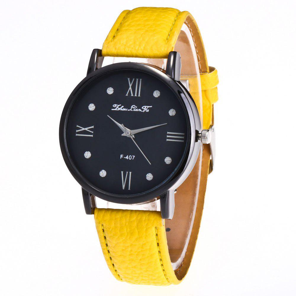 Zhou Lianfa Brand Litchi Fashion Watch - YELLOW