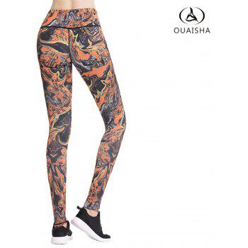 Essar Running Fitness Yoga Bright Color Printing Pants - FLORAL M