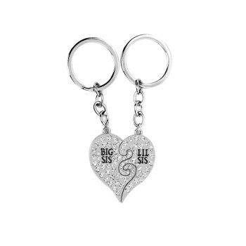 Diamond Studded Sister Heart Key Ring - SILVER SILVER