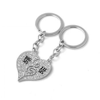 Diamond Studded Sister Heart Key Ring -  SILVER