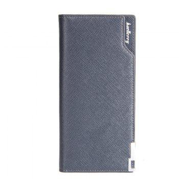 Creative Long Casual Bussiness Trifold PU Leather Wallet Credit Card Holder - BLUE BLUE