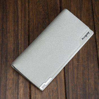 Baellerry Creative Long Casual Bussiness Trifold PU Leather Wallet Credit Card Holder - GRAY