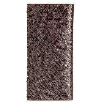 Baellerry Creative Long Casual Bussiness Trifold PU Leather Wallet Credit Card Holder - COFFEE