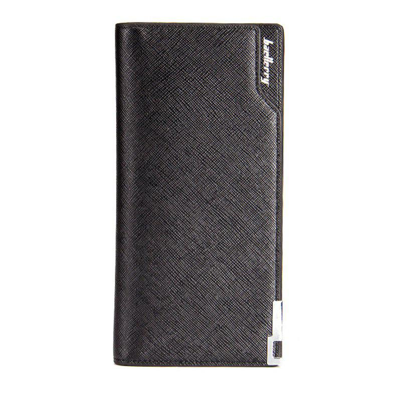 Baellerry Creative Long Casual Bussiness Trifold PU Leather Wallet Credit Card Holder - BLACK