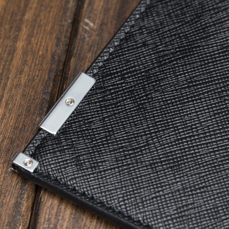 Creative Long Casual Bussiness Trifold PU Leather Wallet Credit Card Holder - BLACK
