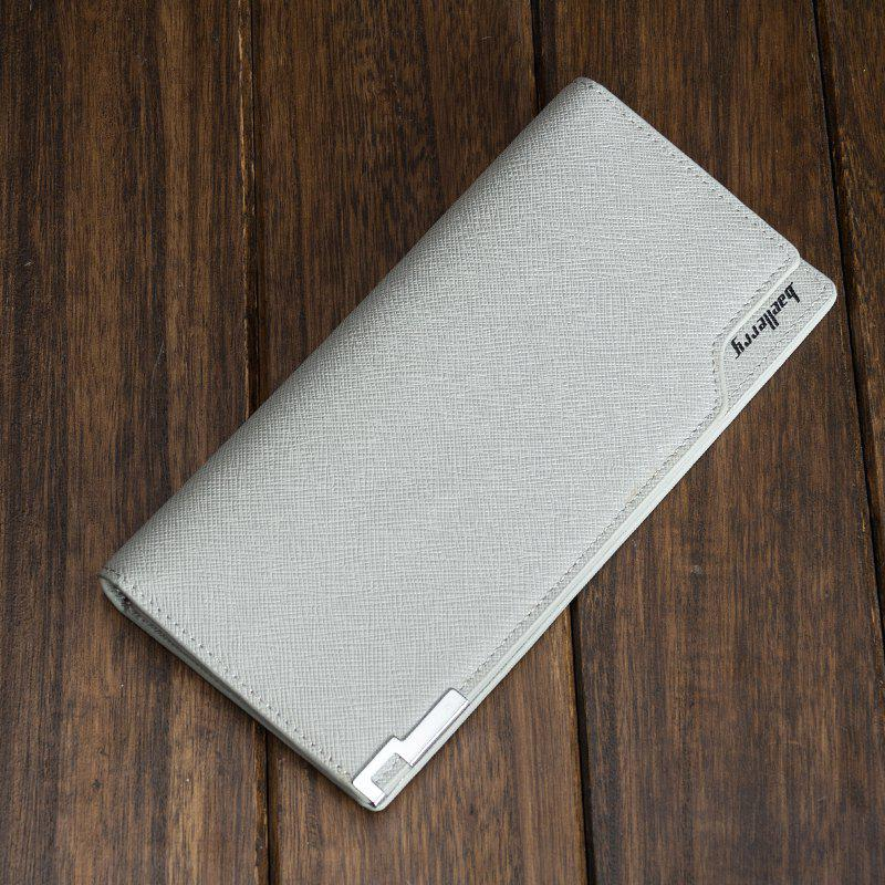 Creative Long Casual Bussiness Trifold PU Leather Wallet Credit Card Holder - GRAY